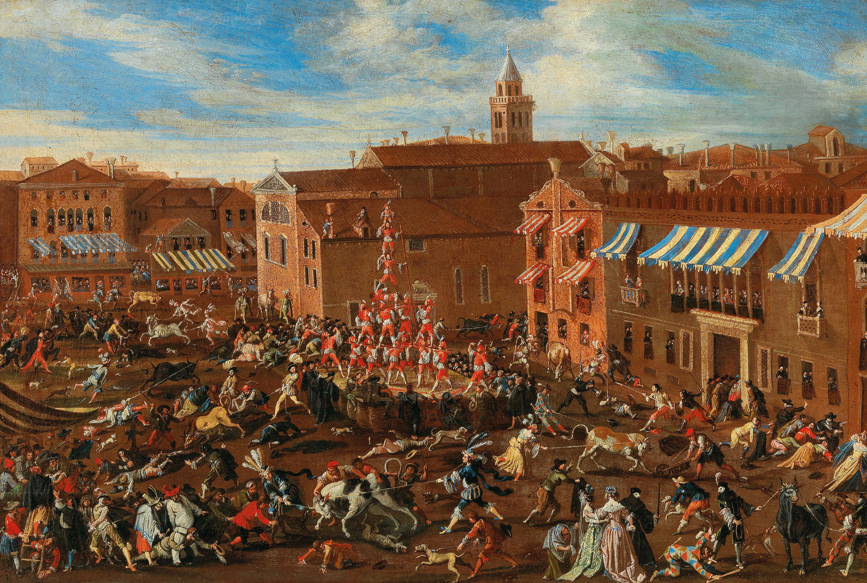 JOSEPH HEINTZ II. (um 1600 Augsburg – 1678 Venedig) und Werkstatt - Die Stierhatz auf dem Campo San Polo in Venedig, Öl/Lwd.