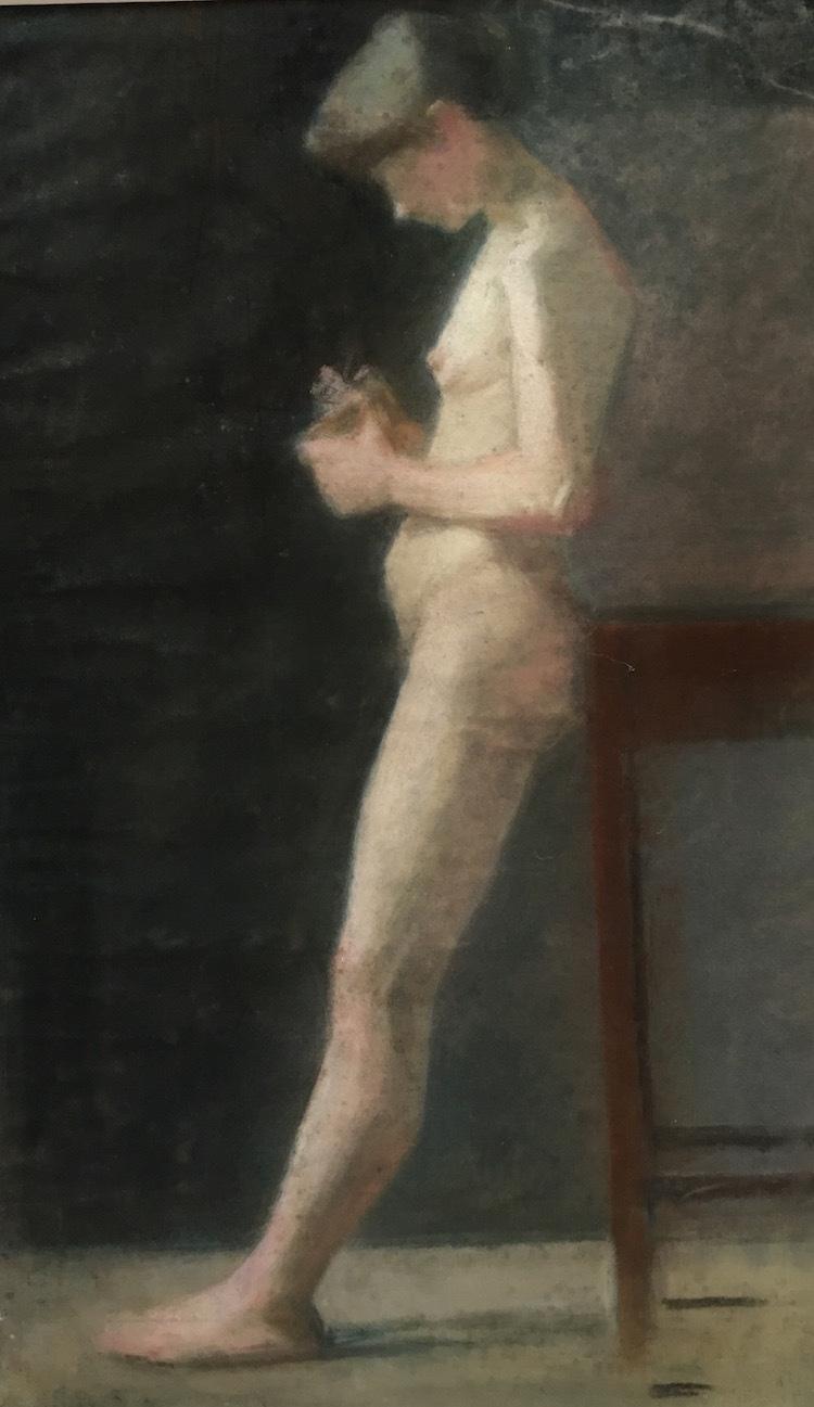 Naken kvinna, pastellkritor, målad cirka 1885 av Marie Krøyer