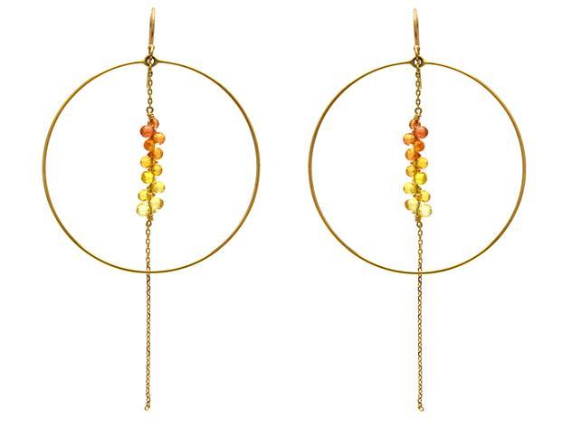 Örhängen, 14K guld med gula och orange safirer.