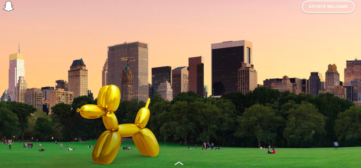 Le Balloon Dog de Jeff Koons visualisé dans Central Park Image: courtesy of Art Snapchat