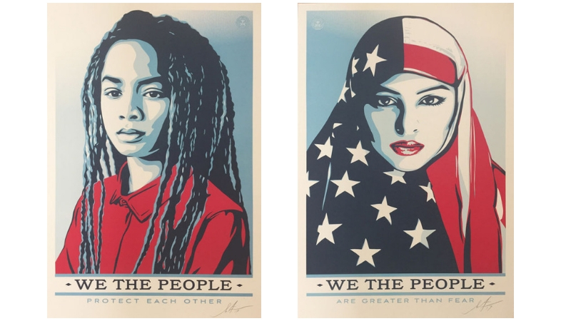 Gauche : Shepard Fairey (OBEY), «We The People - Protect Each Other », 2017 Droite: Shepard Fairey (OBEY), «We The People - Are Greater Than Fear», 2017