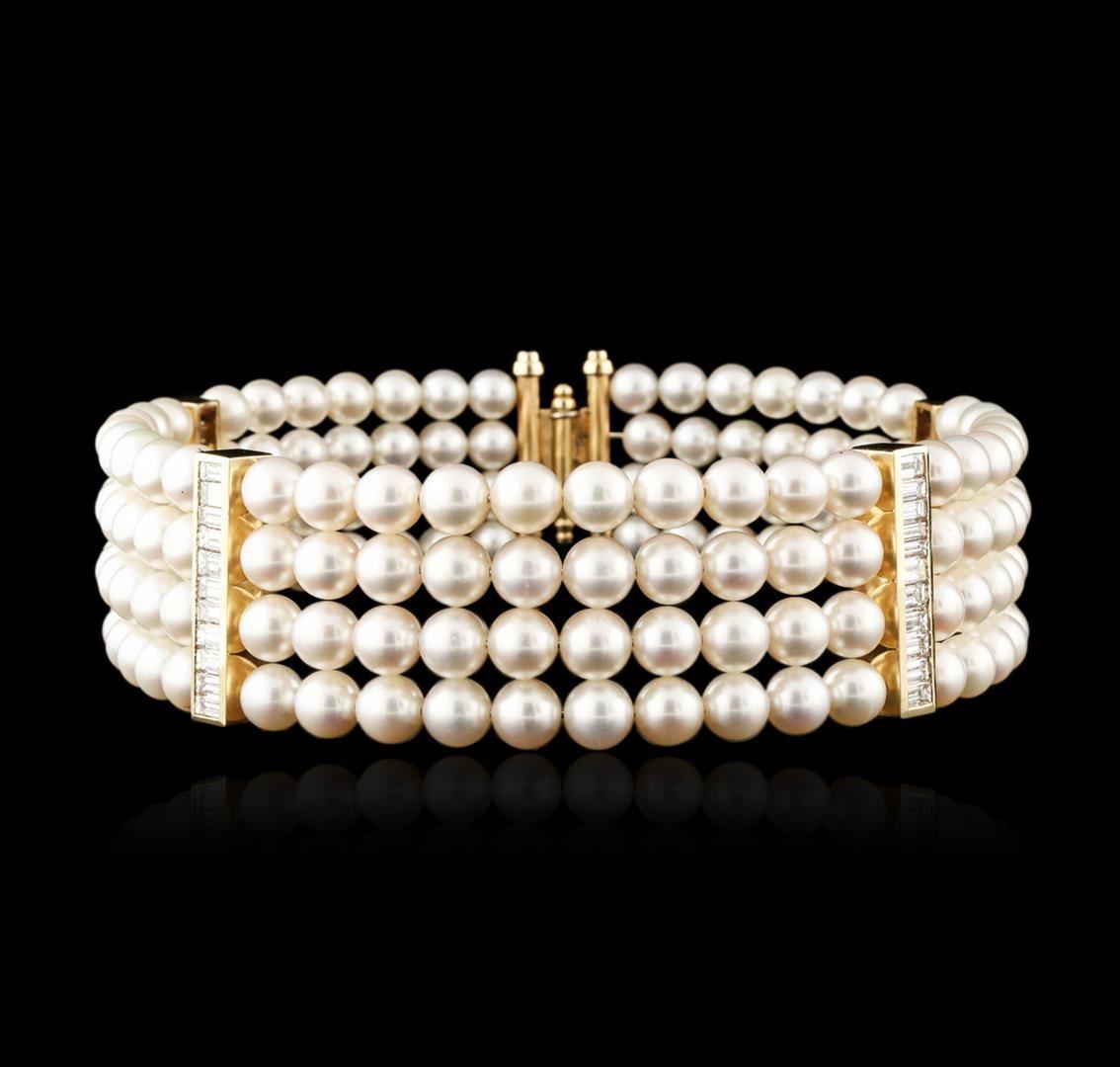 Halsband aus Gelbgold und Perlen