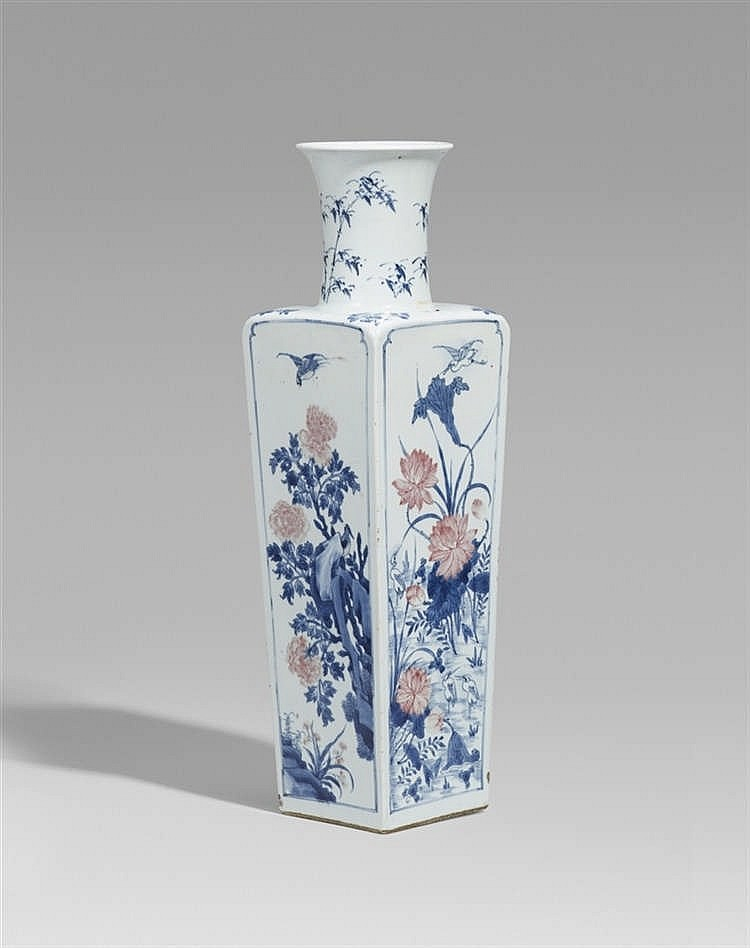 Underglaze-blue and copper-red decorated vase (Kangxi period)