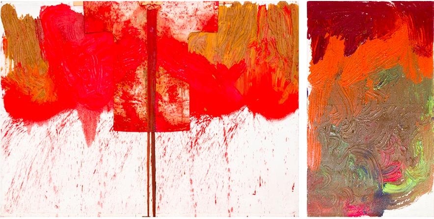 HERMANN NITSCH (*1938 Wien) Links: Schüttbild mit Malhemd, Öl u. Blut/Jute, gewidmet, signiert und datiert, 1992 Rechts: Ohne Titel, Acryl/Jute, signiert und datiert, 2002
