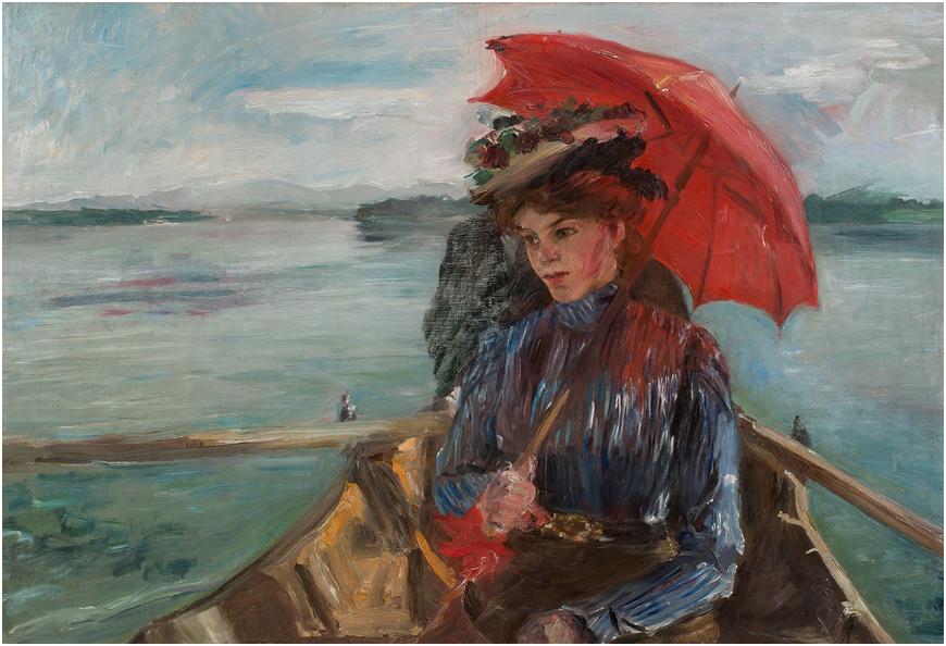 "LOVIS CORINTH (1858 Tapiau, Östpreussen - 1925 Zandvoort) - ""Fräulein Heck"" (Im boot auf dem Starnberger See), olja på canvas. 58,5 x 86 cm. Utropspris: 2,6 - 3,1 miljoner kronor."