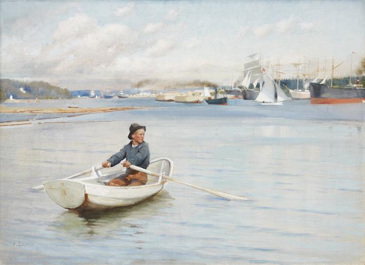 "Albert Edelfelt Finland 1854‑1905. ""Från inloppet till Borgå"". Signed and dated A. Edelfelt 1889. Tempera on canvas, 49 x 68.5 cm. Utrop: 2.500.000 - 3.000.000 kr Uppsala Auktionskammare"