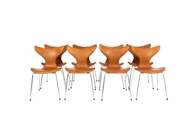 "Conjunto de 8 sillas ""Seagull"", Arne Jacobsen (1902-1971), ca. 1969 por Fritz Hansen. En venta por 9.000 dólares en Lofty"