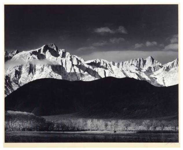 "ANSEL ADAMS (1902 San Francisco - 1984 Carmel-by-the-Sea) - ""Sierra Nevada from Lone Pine, California"", Silbergelatine-Abzug, bezeichnet und signiert, 1944/1062"