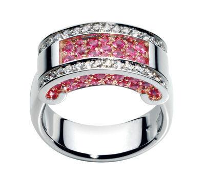 "KORLOFF. Anillo de oro blanco ""Romeo y Julieta"" con diamantes y zafiros rosas"