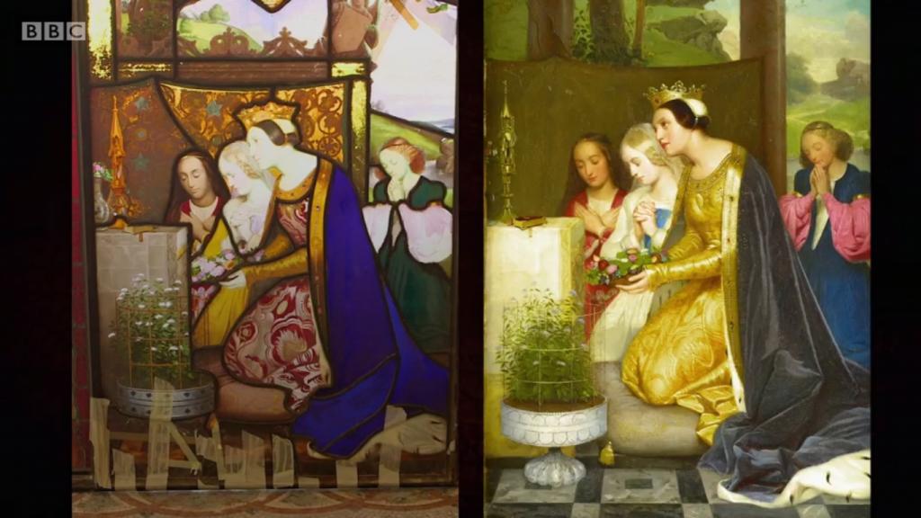 Kyrkofönstret och målningen. Foto: BBC.