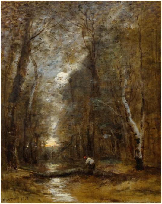 Jean-Baptiste Camille Corot Sous bois, tronc d'arbre abattu en travers d'un ruisseau, 1874