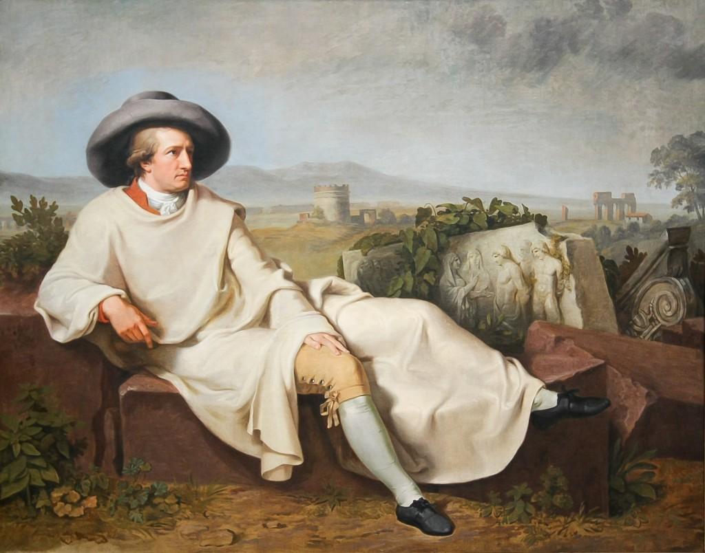 1786/87 machte Goethe Urlaub von Weimar und bereiste Italien. In der Campagna ließ er sich von Johann Heinrich Wilhelm Tischbein portraitieren. Das berühmte Gemälde wird im Städel in Frankfurt ausgestellt.