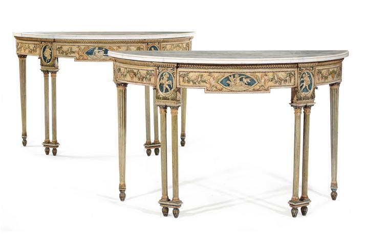 Paar halbrunde Konsoltische, lackiert und vergoldet, Tischplatten aus Marmor, 147 x 64 x 93 cm Schätzpreis: 12.000-15.000 EUR
