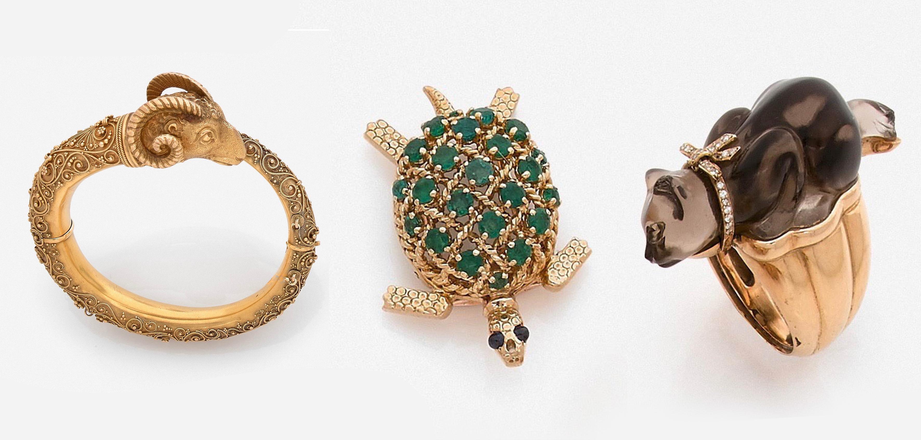 Bracelet jonc, Cartier Broche Tortue, C. Bonneteau bague chat