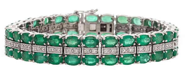 Bracelet émeraudes et diamants Estimation basse: 2 100 €