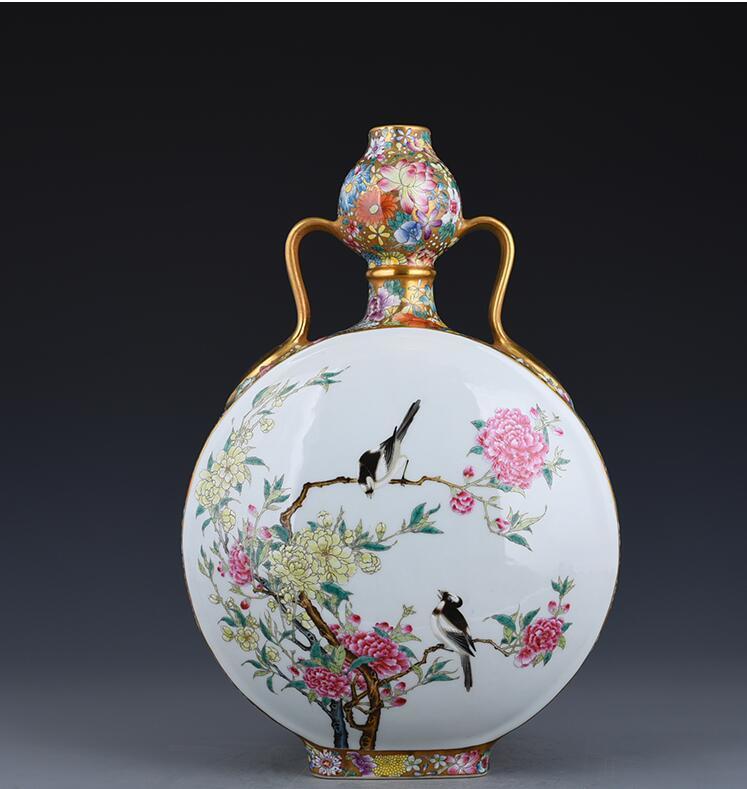 清代乾隆彩色繪製鍍金花鳥圖瓶