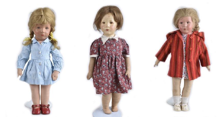 Links: Mädchen, 1960er Jahre Mitte: Deutsches Kind, Puppe VIII Rechts: Mädchen, VEB Bad Kösen, ab 1950