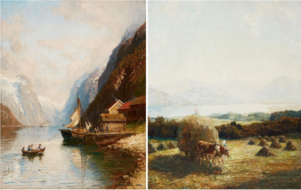 Links: ANDERS MONSEN ASKEVOLD (1834 Askvoll - 1900 Düsseldorf) - Überfahrt im Fjord, Öl/Holz, signiert und datiert, 1894 Rechts: OTTO PIPPEL (1878 Lodz - 1960 München) - Heuernte am Tegernsee, Öl/Lwd., signiert