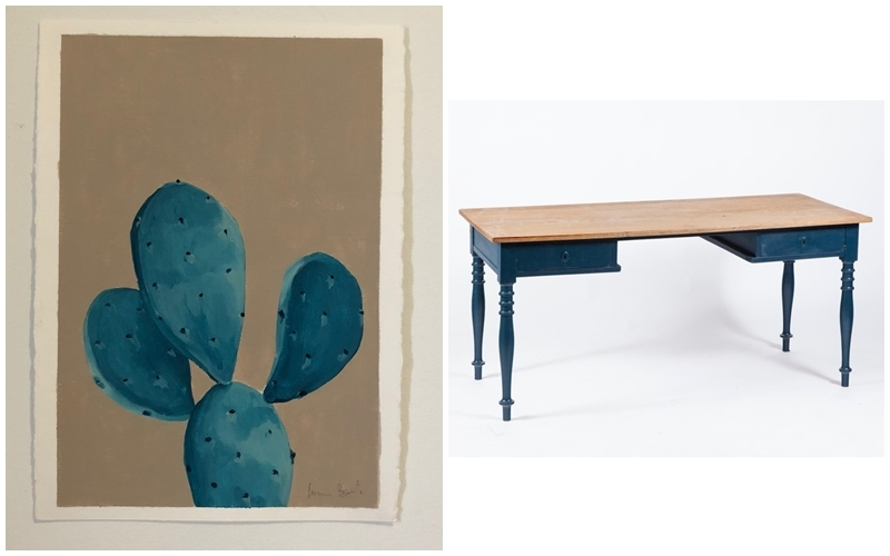 """Left: MARINA BENITO. """"Blue cactus"""". Acrylic on paper. Photo via: A place for Art. Right: Rectangular polychrome wooden desk in blue. Image via: Goya Auctions."""