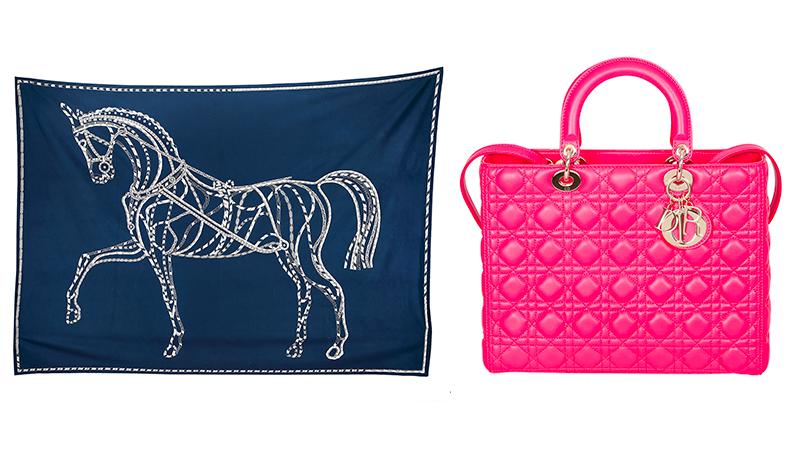"""Links: Hermès, Decke """"Robe du soir"""", Kaschmir Rechts: Christian Dior, Henkeltasche """"Lady Dior Large"""""""