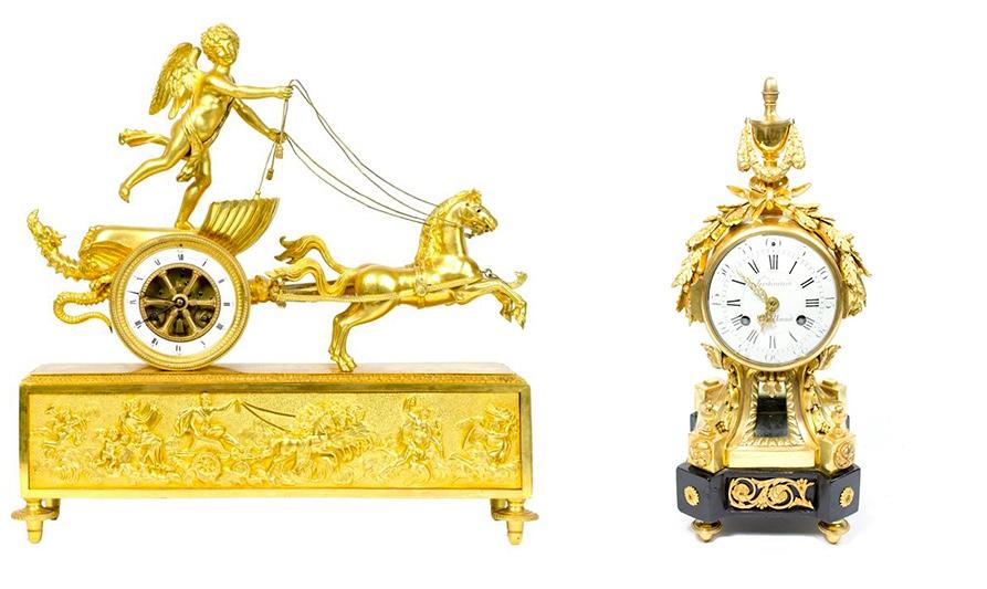 Links: Pendule mit Amor im Streitwagen, feuervergoldete Bronze, Paris um 1810 Rechts: Pendule, feuervergoldete Bronze, Frankreich um 1765