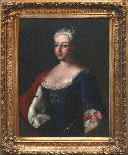 JOHANN CHRISTIAN SPERLING (1691 Halle a. d.Saale 1746) - Bildnis der Friederike Louise von Brandenburg und Preußen, Markgräfin zu Brandenburg-Ansbach, Öl/Lwd.