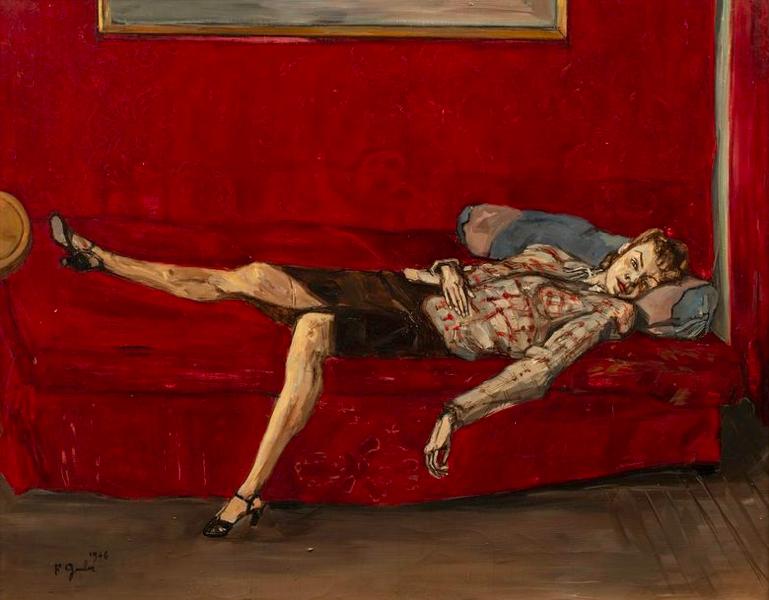 Francis Grüber, Femme sur un lit rouge, 1946, image ©Rossini