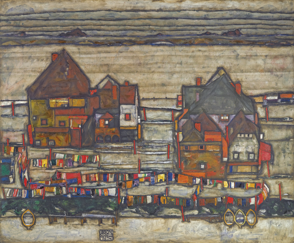 """EGON SCHIELE - """"Häuser mit bunter Wäsche (Vorstadt II)"""", 1914 Abb. Sotheby's"""