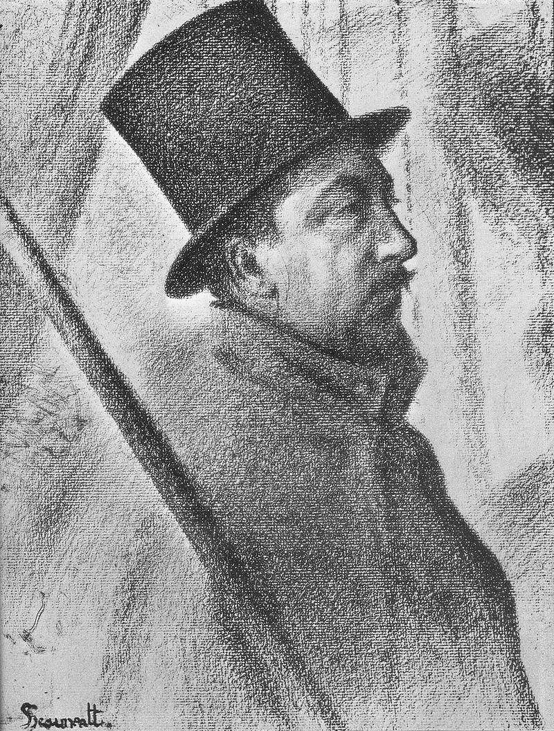 Georges Seurat, Portrait de Paul Signac, 1890, crayon, image via Wikipedia