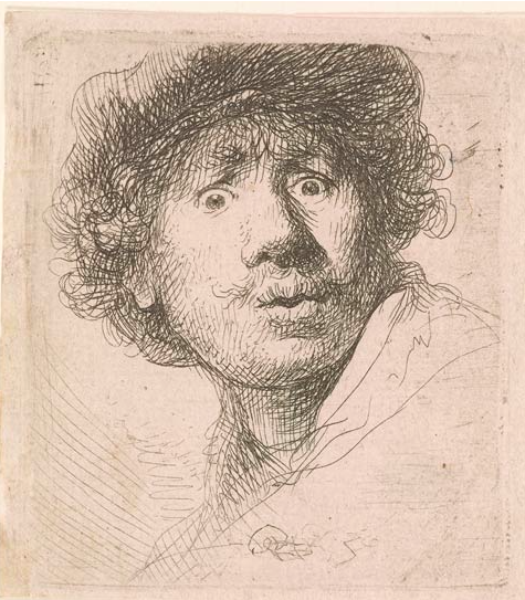 Rembrandt Harmenszoon van Rijn, Self Portrait in a Cap, Open-Mouthed 1630. Image via: The Morgan Library & Museum