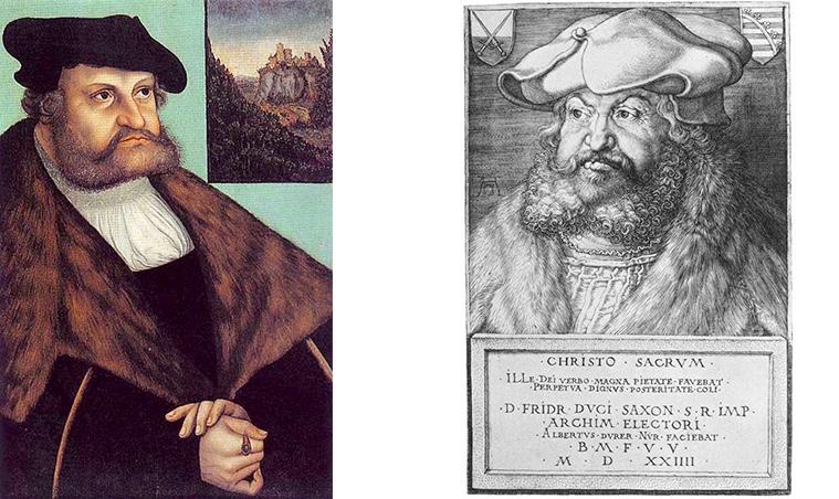 Als Vorlage für das Münzportrait dienten Portraits Friedrichs III. von Lucas Cranach d.Ä. (links) und Albrecht Dürer (rechts).