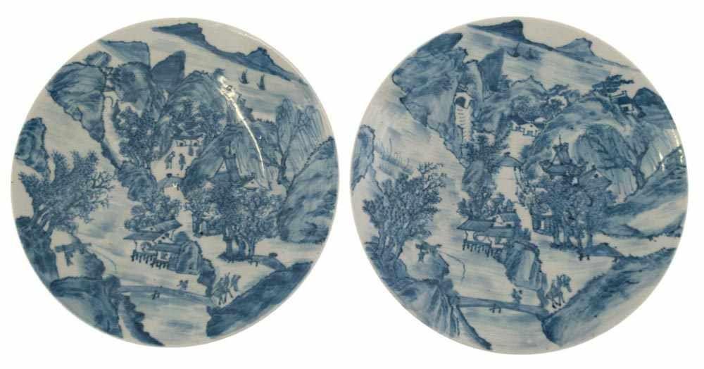 2 Qianlong-Teller mit Landschaftsmalerei