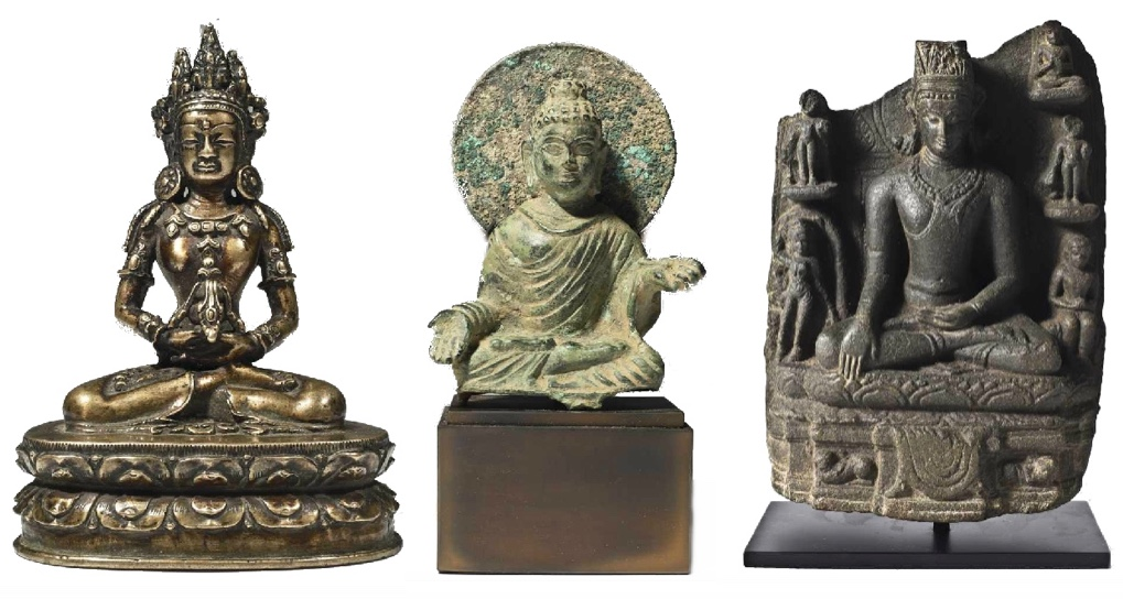 Links: Buddha Amitayus, Bronze, Tibet 14. Jh. Mitte: Buddha, Bronze, Silber, Swat-Tal 7.-8. Jh. Rechts: Gekrönter Buddha Shakyamuni, schwarzer Stein, Indien, Pala-Periode, 11.-13. Jh.