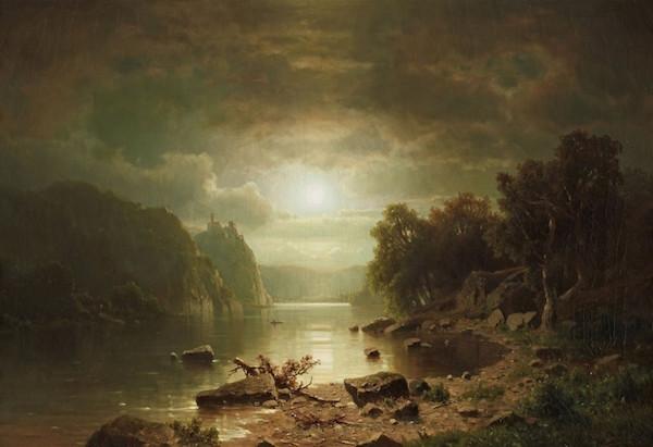Adolf Chwala (1836 Prag - 1900 Wien) Flodlandskap med slott i månsken, olja, 60,5 x 89 cm, signerad.
