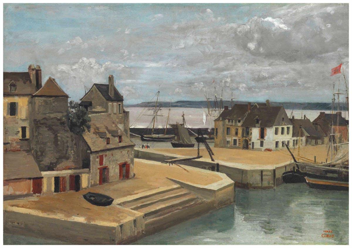 """JEAN-BAPTISTE COROT. """"Honfleur, Maisons Sur Les Quais"""". Óleo sobre lienzo (c. 1830)."""