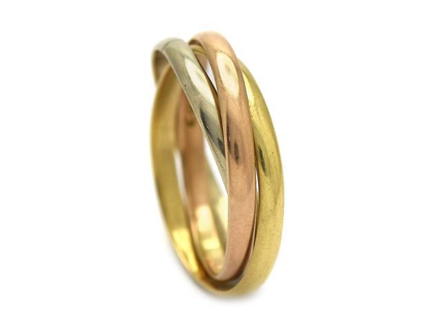 Ring, Cartier, Trinity, 18K trefärgad guld.