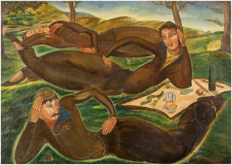 LADO (WLADIMIR) DAWIDOWITSCH GUDIASCHWILI (1896 Tiflis 1980) - Die Träumer von Ortatschala, Öl/Lwd., signiert und datiert, 1920
