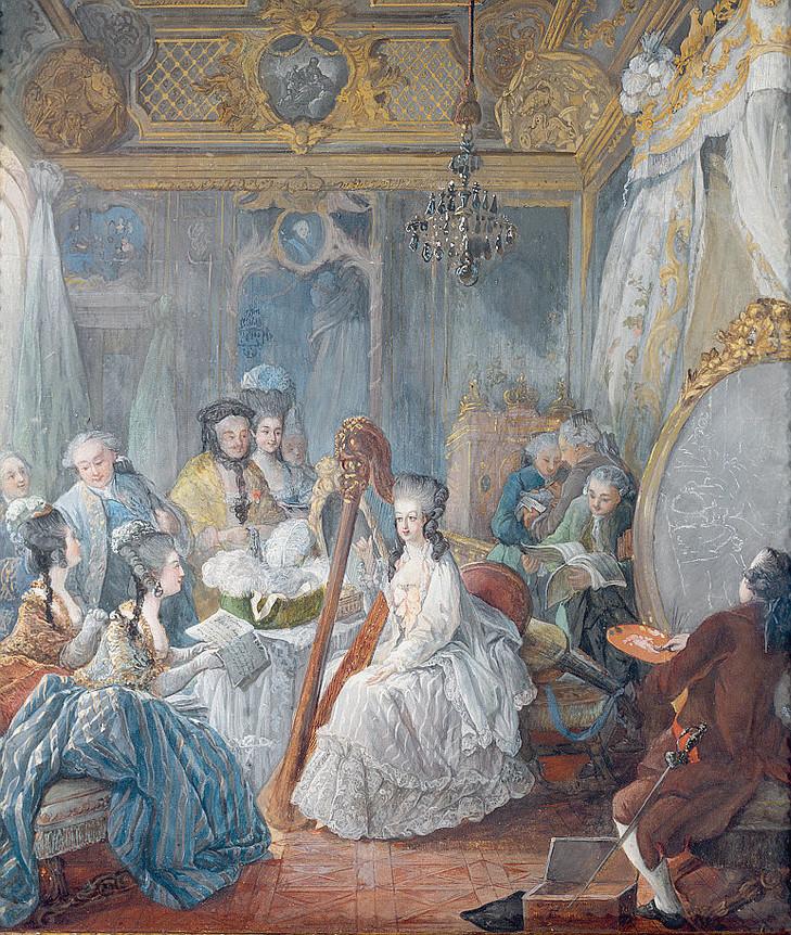 Marie-Antoinette jouant de la harpe, par Jean-Baptiste Gautier d'Agoty, 1777, Luisa Ricciarini Leemage
