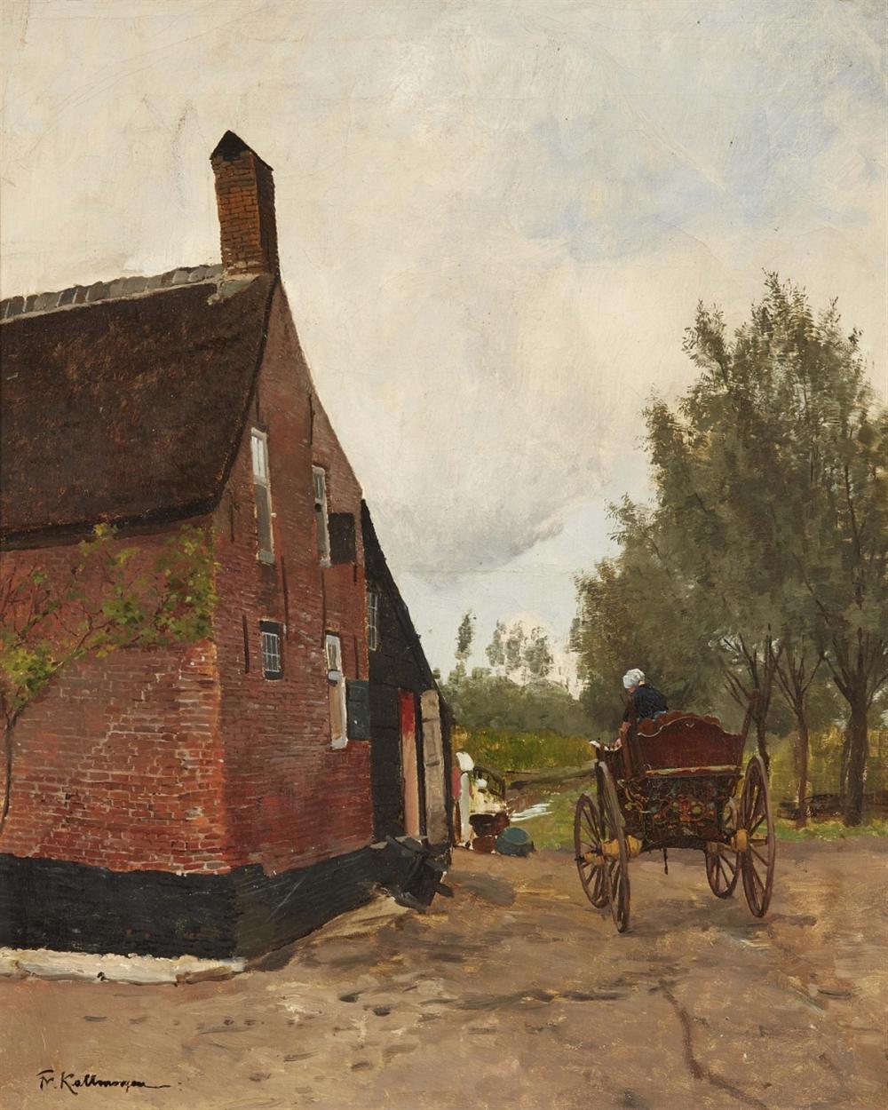 Friedrich Kallmorgen (1856 Altona - 1924 Grötzingen), Holländisches Bauernhaus, Öl/Lwd., signiert | Foto: Lempertz