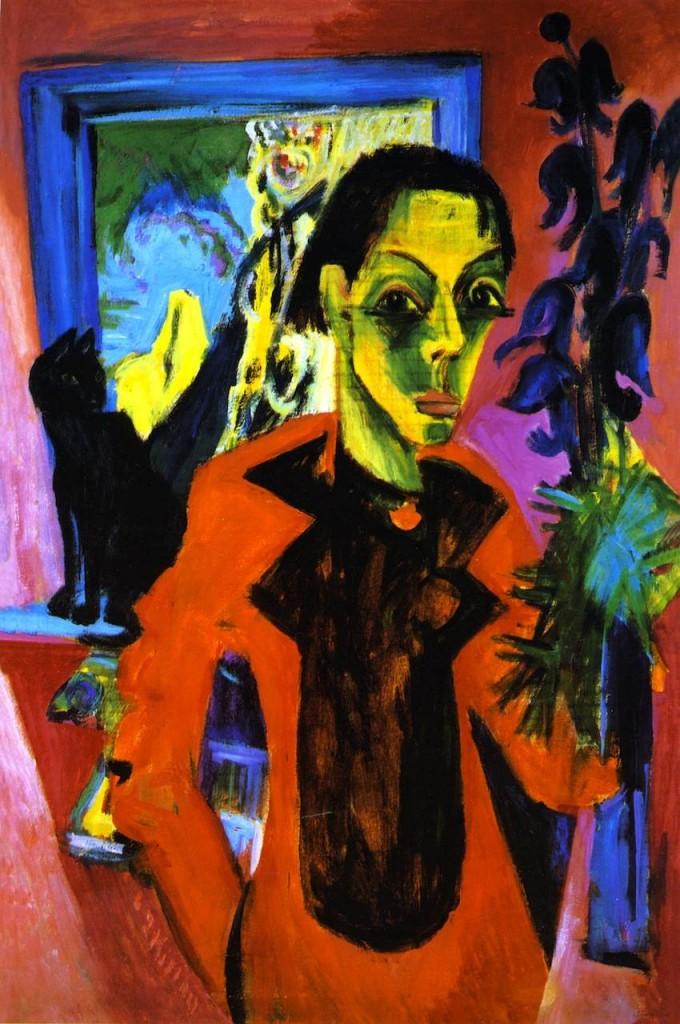 Ernst Ludwig Kirchner - Selbstportrait mit Katze, 1919/20