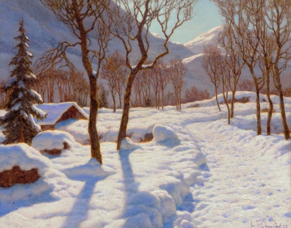 IVAN FEDOROVICH CHOULTSE (St. Petersburg 1874 - 1939 Nizza) - Scène d'hiver dans les Alpes, Öl/Lwd., 54 x 65 cm, signed and dated, 1923