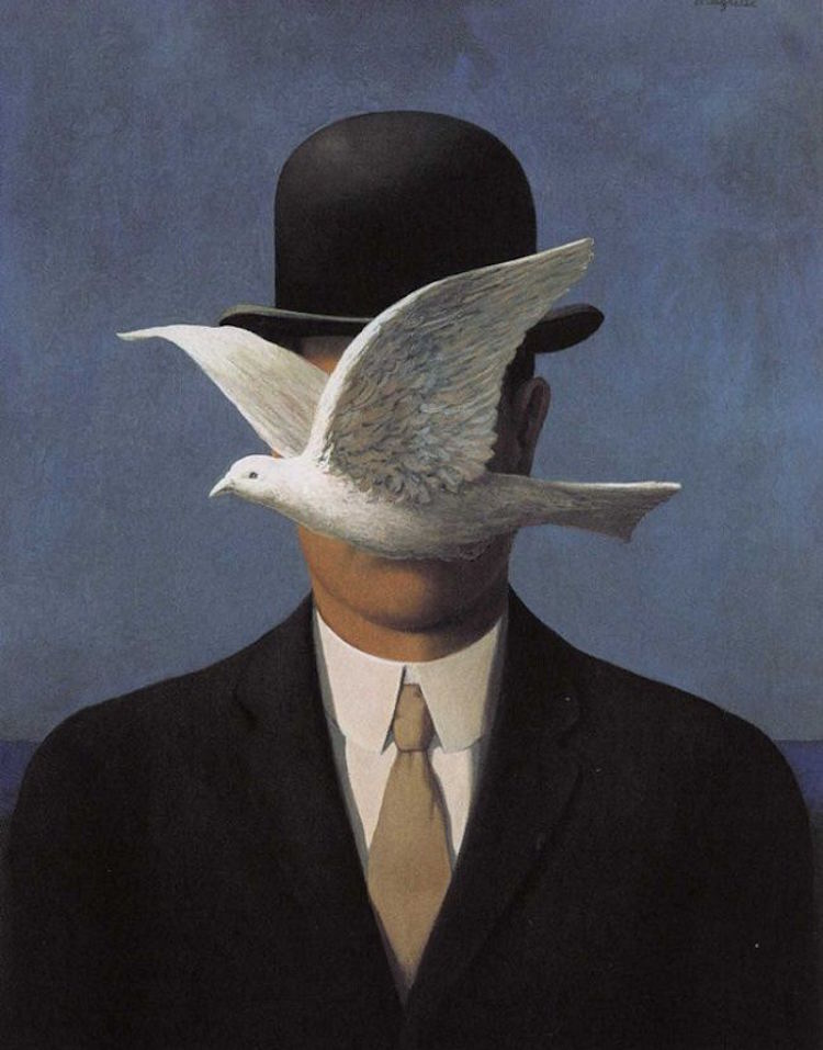 Man in a Bowler Hat (1964) René Magritte Bild via wikiart.org