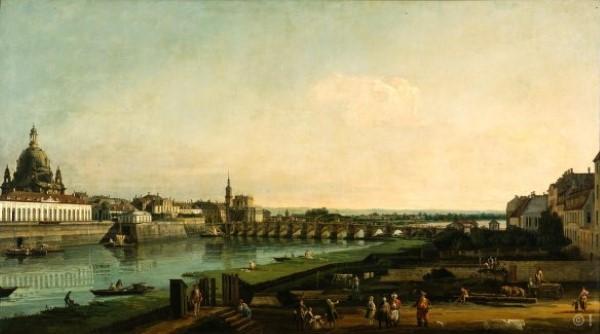 Bernardo Bellotto, Dresden vom rechten Elbeufer mit Blick auf Augustusbrücke, 1747, Öl auf Leinwand, 132 x 236 cm, Dresdener Gemäldegalerie Alte Meister