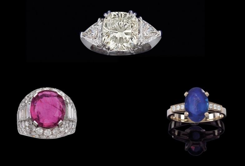 """Ovan: ring i vitt guld med tre diamanter (totalt ca 7,57 ct.). Utropspris: 100,000-150,000 EUR Mitten: Ring från Bulgari """"Trombino"""" med Burmarubin (ca 6 CT) och diamanter (totalt ca 6,50 ct.). Utropspris: 60.000-120.000 EUR Höger: Ring i vitt guld med Kashmirsafir (2,60 ct) och diamanter (totalt ca 0,10 ct.). Utropspris: 45.000 till 60.000 Eur"""