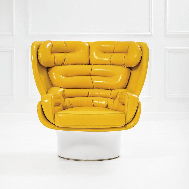 Joe Colombo, fauteuil pivotant mod. Elda, prod. Comfort, 1965, estimation entre 4 500 et 6 500 euros