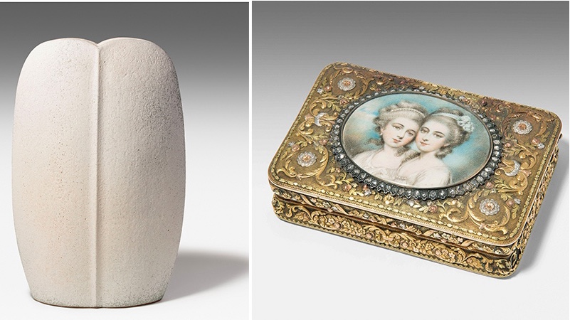 Links: EDOUARD CHAPALLAZ (1921-2016) - Vase, um 1985/86 Rechts: Tabatiére mit Portraitminiatur, Gold en trois couleurs, Frankreich Anfang 19. Jh.
