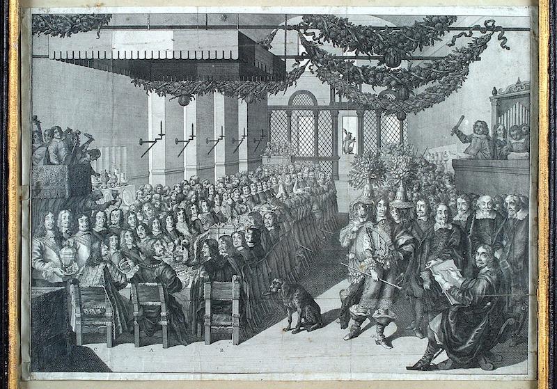 Kopparstick föreställande fredsbanketten i Nürnberg 1649 som finns att beskåda på Skoklosters slott