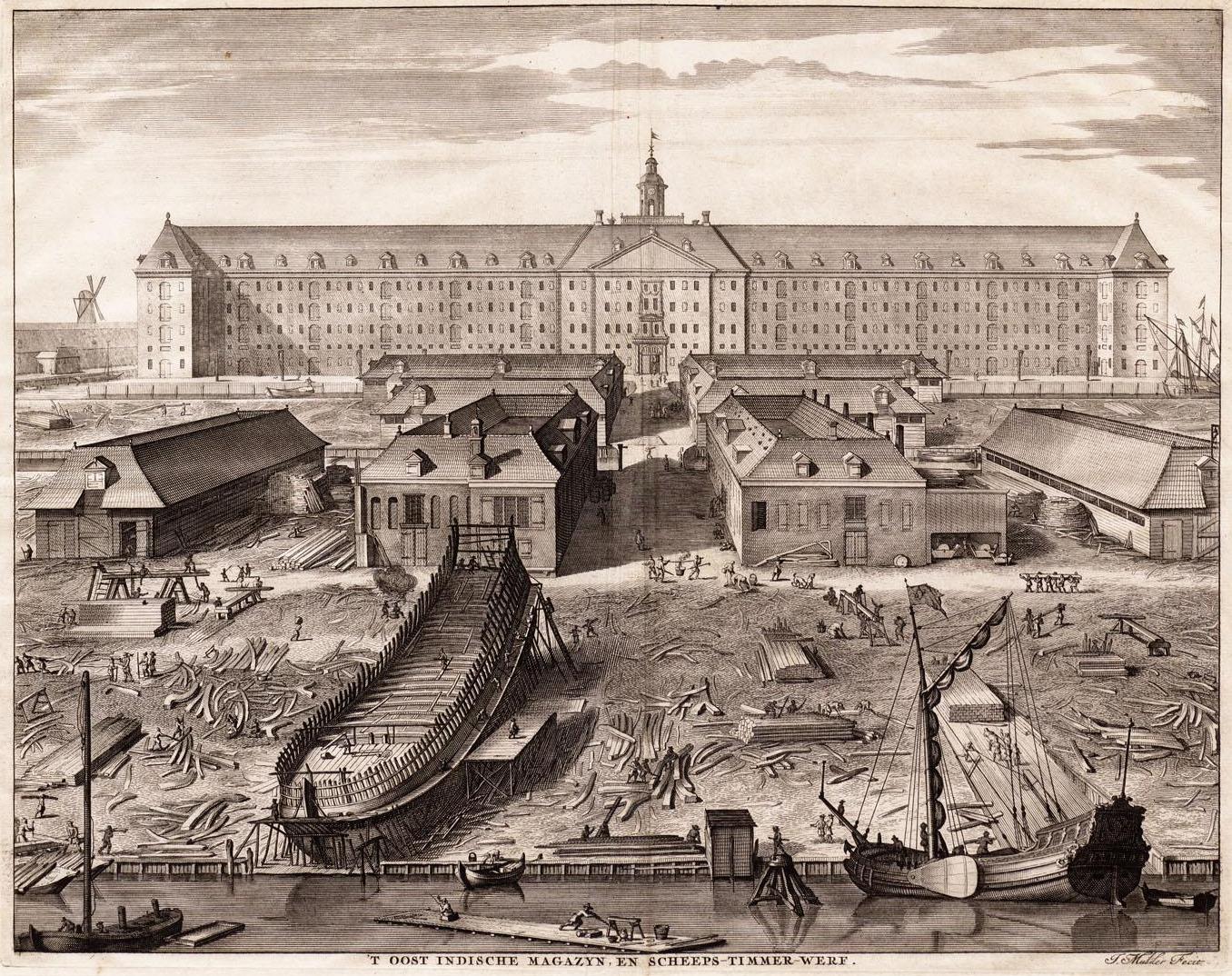 Le chantier naval de la Dutch East India Company à Amsterdam, 1726 Gravure par Joseph Mulder Image via Wikipedia