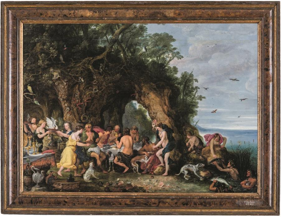 Entourage de Peter Paul Rubens (1577-1640) et Jan I Brueghel (1568-1625), Le banquet d'Achéloos, huile sur panneau de chêne