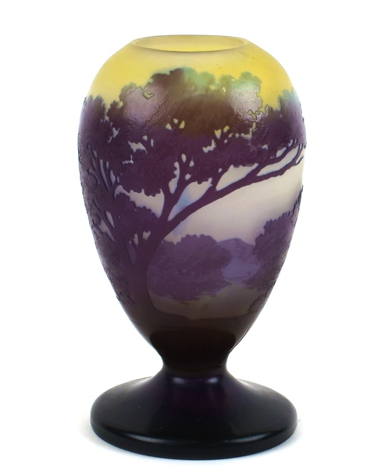 One of the seven vases by Emile Gallè that are currently up for auction. That 5 inch high vase signed by Emile Gallè, Nancy, with an estimate of $970-$1,300.